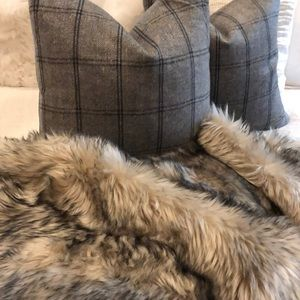 Gray flannel pillows